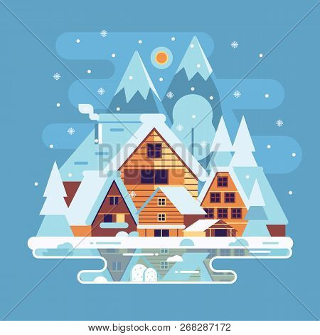 Snowy landscape with winter village in the mountains. Alp countryside with snow houses, wooden cabins and chalets on frozen lake by wintertime. stock photo