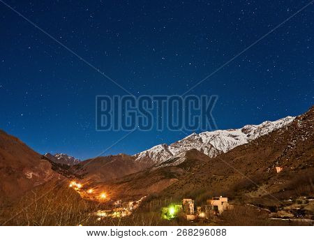 Kasbah du Toubkal, Imlil in the Atlas Mountains Morocco, night photo stock photo