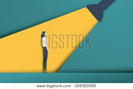 Business recruitment and talent headhunting vector concept in modern 3d paper cutout style. Businesswoman in spotlight. Symbol of hiring, employee search, vacancy. stock photo