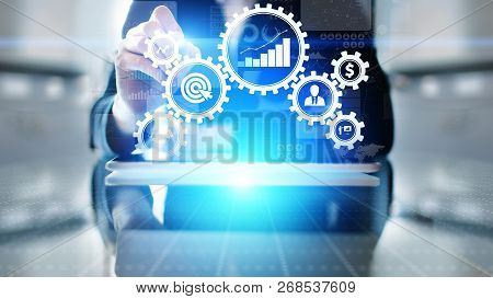 Business process management automation workflow, document validation, connected gear cogs with icons, technology concept stock photo