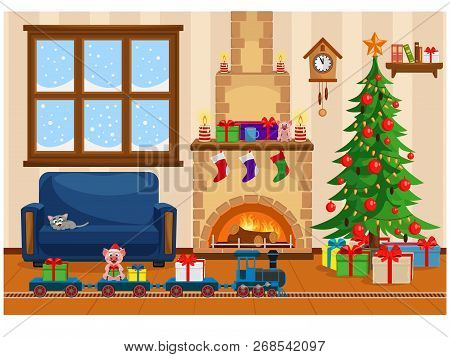 Vector Illustration Of Christmas Living Room With Christmas Tree