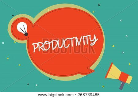 Text sign showing Productivity. Conceptual photo State or quality of being productive Effectiveness Success stock photo