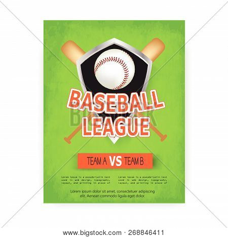 baseball posters with baseball ball. Baseball competition game advertising. Sport event announcement. Place your text and emblems of participants. Vector illustration. stock photo