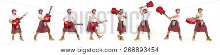 Scotsman playing guitar isolated on white stock photo