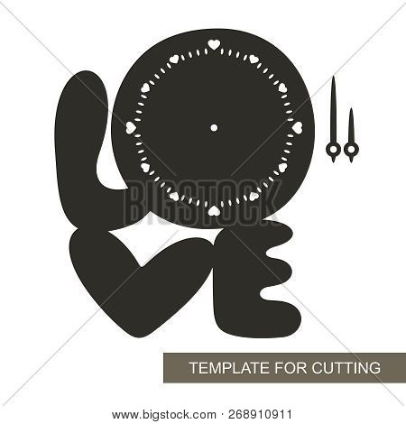 Clock in the shape of the word love.  Dial with arrows on white background. Decor for home. Romantic gift for February 14. Template for laser cutting, wood carving, paper cut and printing. Vector. stock photo