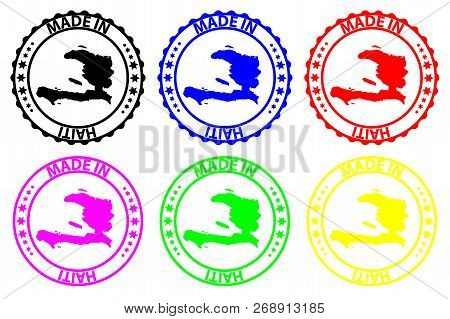 Made in Haiti - rubber stamp - vector, Haiti map pattern - black, blue, green, yellow, purple and red stock photo