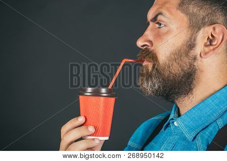 full of energy. mature hipster drink coffee. Good morning coffee. male with beard. brutal bearded man with take away coffee. Enjoying Sunday morning, copy space. Morning coffee. stock photo