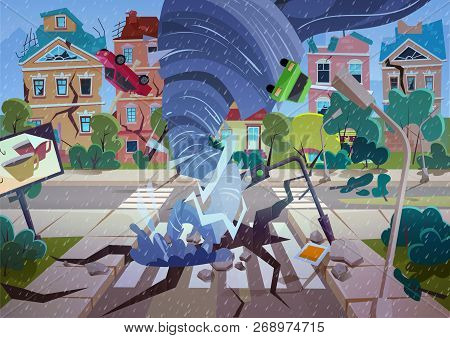 Swirling Tornado in village. Hurricane destroying houses and street. Natural disaster concept cartoon vector Illustration. stock photo