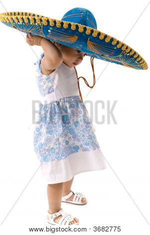 Baby with a Mexican Hat on white . stock photo
