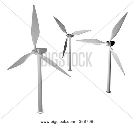 3d render of wing turbines stock photo
