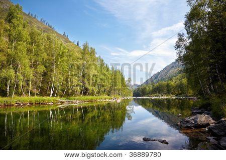 Girlish Reaches of mountain Altai river Kumir stock photo