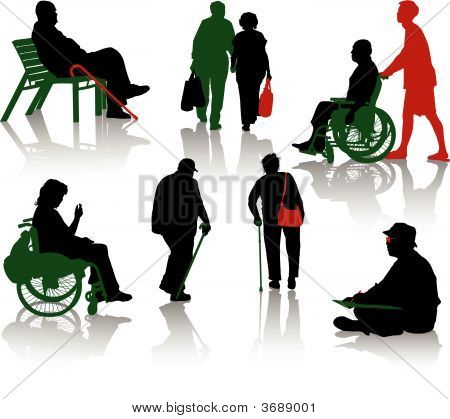 Silhouette of old people and disabled persons stock photo