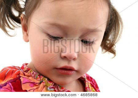 Adorable Japanese American three year old girl. stock photo