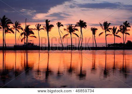 Paradis plage coucher de soleil ou lever du soleil avec des palmiers tropicaux. Été voyage vacances vacances escapade c