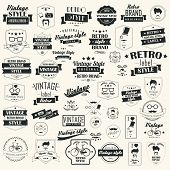 Set of vintage retro names, stamps, strips, imprints and calligraphic configuration components, typo