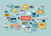 Commerce And Savings Flat Illustration
