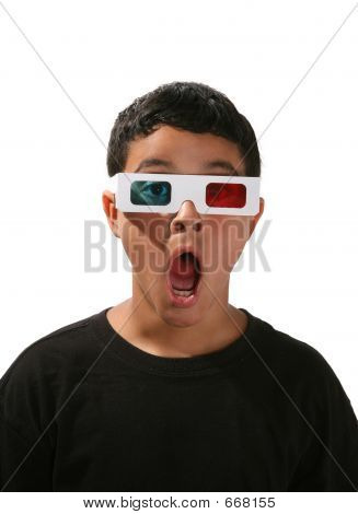 Boy with 3D glasses on watching a 3D movie stock photo