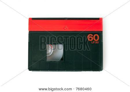 mini DV cassette on a white background stock photo