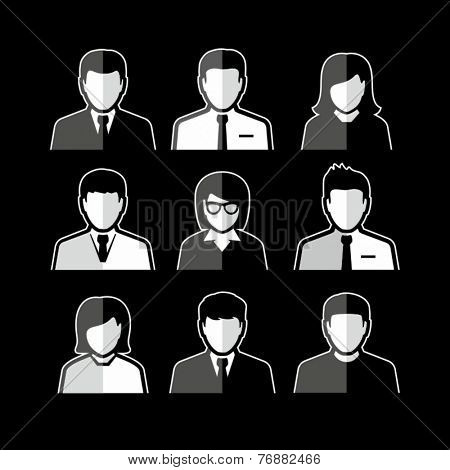 People icons. Business people. Avatar flat design icons. White business people avatars on black back