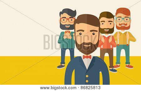 Team of four happy hipster Caucasian business people with beard, standing clapping their hands and s
