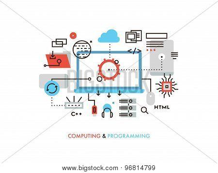 Computing And Programming Flat Line Illustration