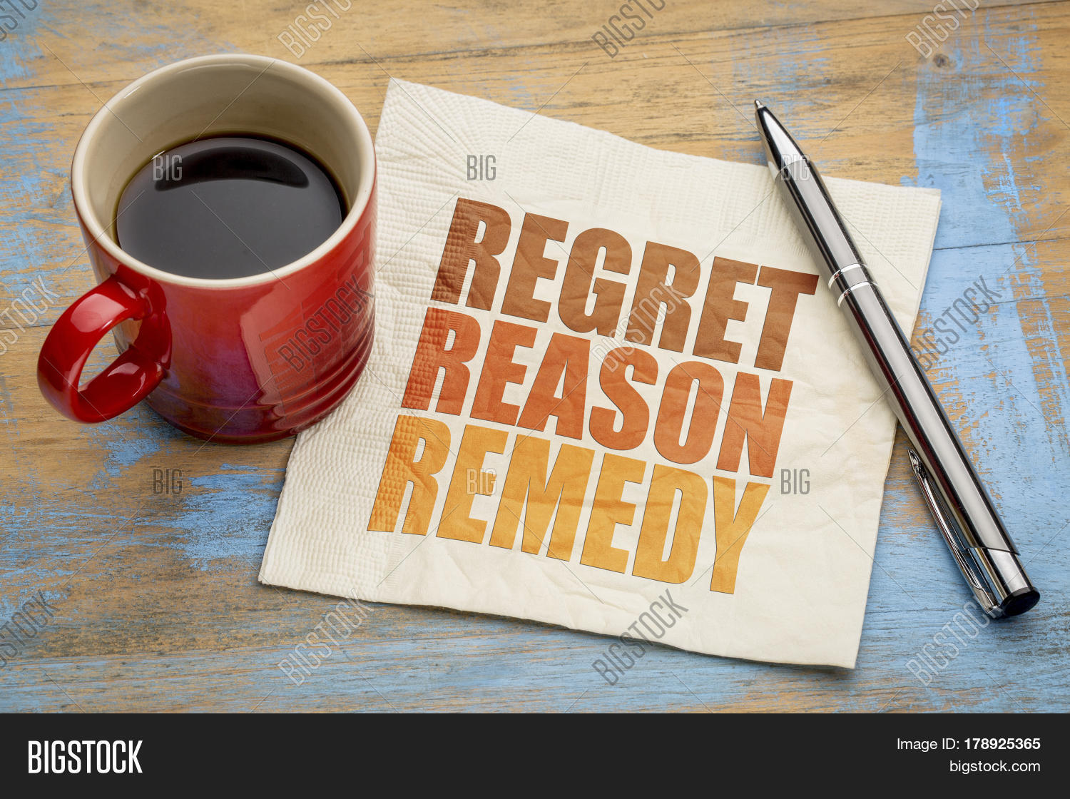Regret, reason, remedy word abstract on a napkin with a cup of coffee - crisis management concept
