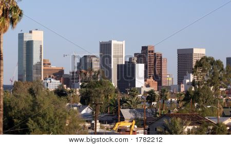 Skyscrapers and Single Family Houses Roofs in Downtown of Phoenix AZ stock photo