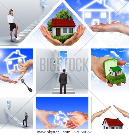 Symbol of a successful real estate business. Collage. Illustrations. stock photo