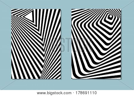 Striped black and white opt art. Geometric optical illusion with stripes. Abstract background, card. Vector illustration. stock photo