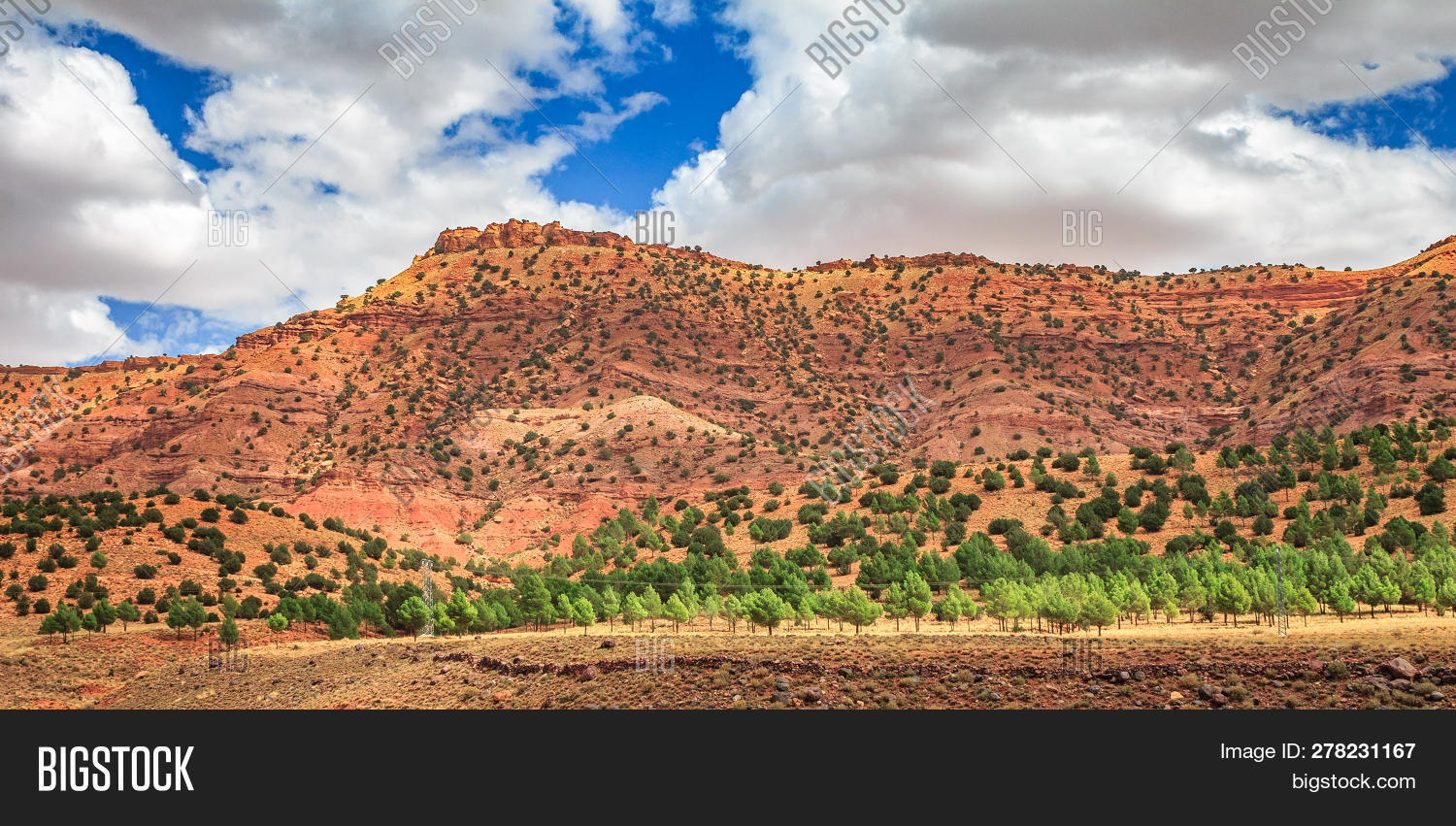 View Of The Desolating Valley Ounila River. Beautiful Northern African Landscape . Fascinating View