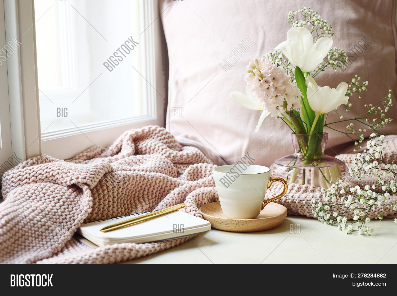 background,beautiful,beverage,bouquet,break,breakfast,bright,coffee,cup,day,drink,easter,flower,golden,gypsophila,holiday,home,hot,hyacinth,indoors,interior,leaf,life,lifestyle,living,morning,mug,nature,notebook,pen,pillow,pink,plaid,plant,relax,retro,room,scene,season,spring,stationery,table,tea,tulips,vase,vintage,white,window,windowsill