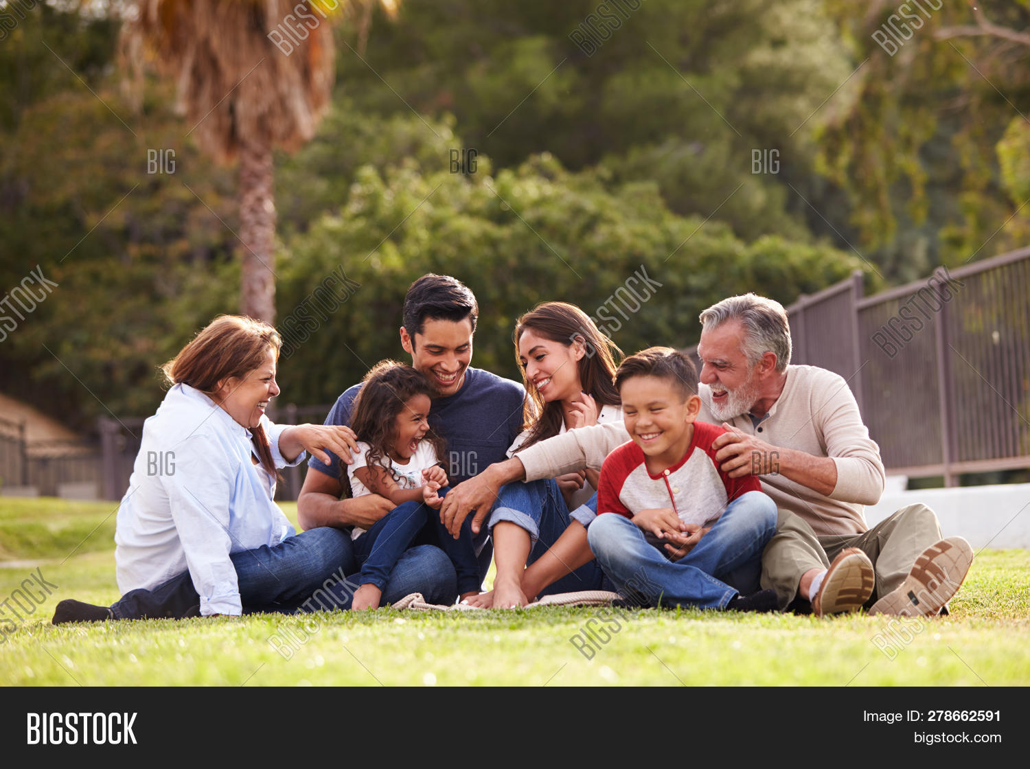 20s,30s,50s,60s,adult child,adults,bonding,boy,brother,children,communication,dad,daughter,day,family,family time,father,full length,garden,girl,grandfather,grandmother,happy,hispanic ethnicity,horizontal,kids,laughing,looking at each other,low angle,medium group of people,men,middle aged,millennial,mother,mum,outdoors,parents,park,pre-teen,selective focus,senior,sister,sitting on grass,smiling,son,sunlight,three generation family,togetherness,women,young adults