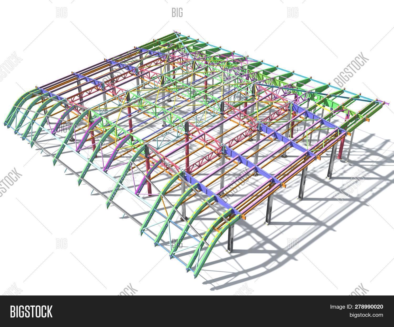 3d Rendering. Bim Model Of Metal Structure. The Building Is Made Of Metal Structures. Building Infor