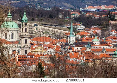 St. Nicholas and St. Thomas churches and Praga city seen from the Petrin Hill stock photo