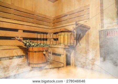 Interior of Finnish sauna, classic wooden sauna, Finnish bathroom, Relax in hot sauna with steam stock photo