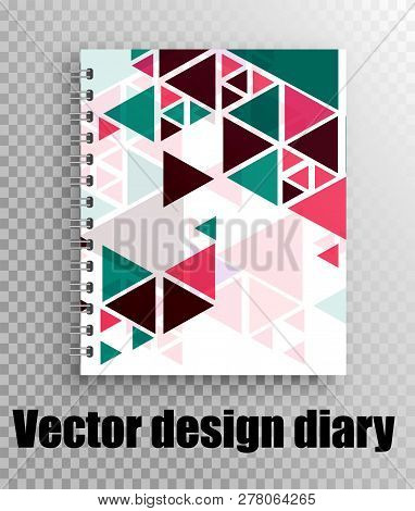 Business office - vector mockup of a stylish diary. geometry pattern. The layout of the diary on the springs stock photo