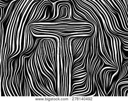 Inner Geometry series. Background design of human face rendered in traditional woodcut style on the subject of human soul, internal drama, art, poetry and spirituality stock photo