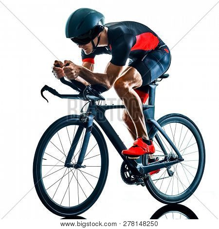 triathlete triathlon Cyclist cycling  in studio silhouette shadow  isolated  on white background stock photo