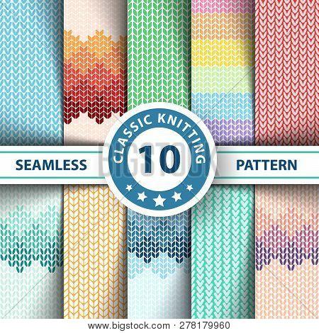 Pullover, sweater, jersey - seamless knitting pattern. Hand draw stock photo