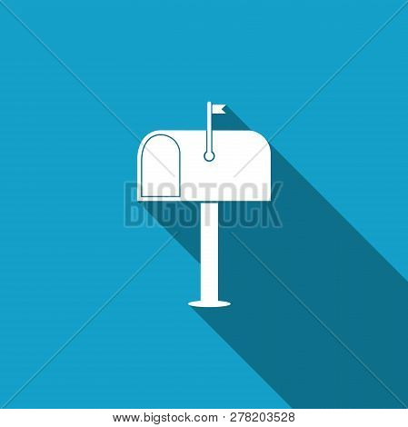 Mail box icon isolated with long shadow. Mailbox icon. Mail postbox on pole with flag. Flat design. Vector Illustration stock photo