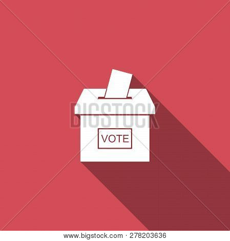 Vote box or ballot box with envelope icon isolated with long shadow. Flat design. Vector Illustration stock photo