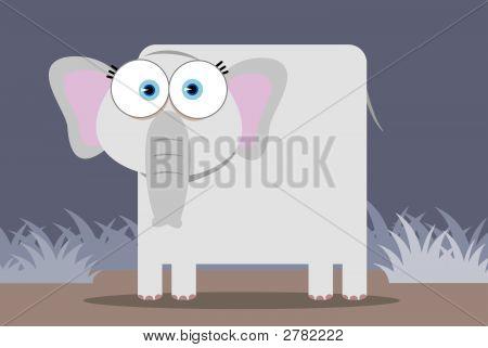 Cartoon of grey Elephant with big eye stock photo