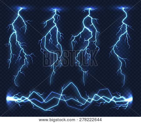 Realistic lightnings. Electricity thunder light storm flash thunderstorm in cloud. Nature power energy charge, thunder shock in set stock photo