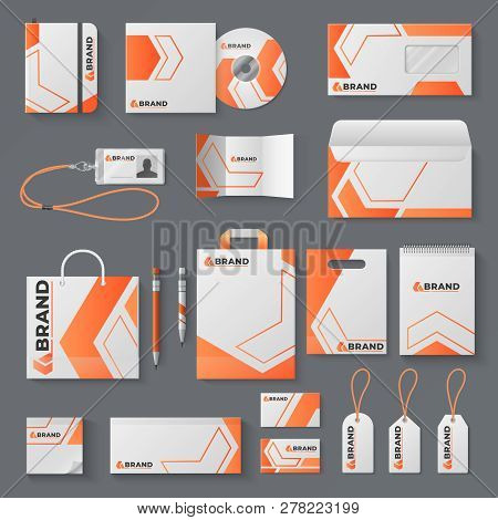 Corporate Identity Mockup. Office Stationery Branding Business Card Letter Envelope Mug Brand Brochu