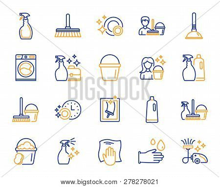 Cleaning line icons. Laundry, Window sponge and Vacuum cleaner icons. Washing machine, Housekeeping service and Maid cleaner equipment. Window cleaning, Wipe off, laundry washing machine. Vector stock photo