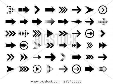 Arrows Big Black Set Icons. Arrow Icon. Arrow Vector Collection. Arrow. Cursor. Modern Simple Arrows