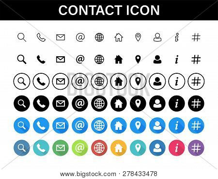 Contacts Icon Set. Collection Social Media Or Communication Symbols. Contact, E-mail, Mobile Phone,