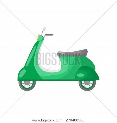 Beautiful colored two-wheeled scooter servants for movement and delivery. stock photo