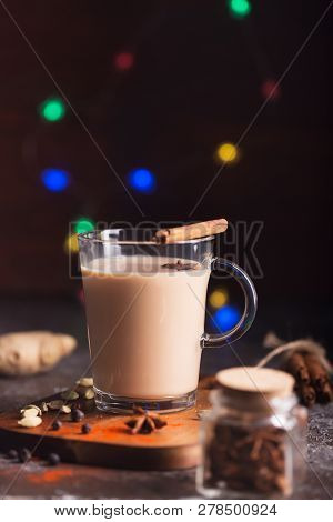 Flavoured tea chai made by brewing black tea with aromatic spices and herbs stock photo