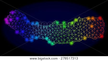 Bright mesh vector map of Sao Miguel Island with glow effect. Light spots have bright rainbow colors. Abstract lines, triangles, glare spots on a dark background with map of Sao Miguel Island. stock photo